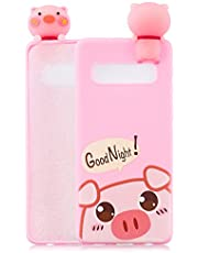 Soft Silicone Case for Samsung Galaxy S10 Plus,Aoucase Slim Thin 3D Animals Pattern Gel Rubber Drop Protection Protective Case with Black Dual-use Stylus,Pink Piggy