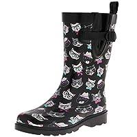 Capelli New York Shiny Cool Cats Printed Mid-Calf Rain Boot Black Combo 7