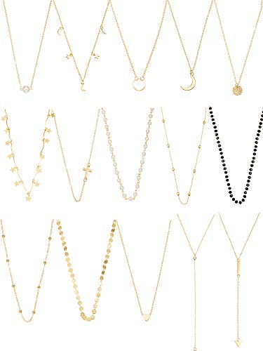 15 Pieces Women Choker Necklace Layered Necklace for Women Girls Multilayer Chain Necklaces Set Adjustable