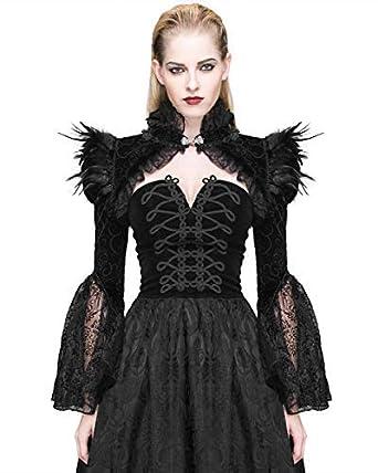 Devil Fashion Femmes Gothique Boléro Velours Noir Corbeau Plume Cardigan  Dentelle - Noir 4c048cd0366