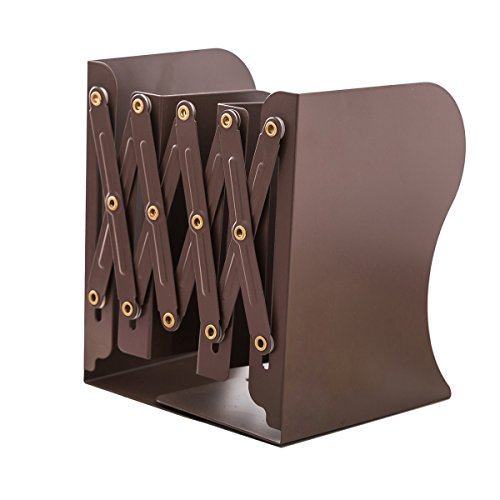 JIARI Simple Nature Style Brown Decorative Metal Iron Bookends Holder Stand Desk Nonskid Adjustable Bookend ()