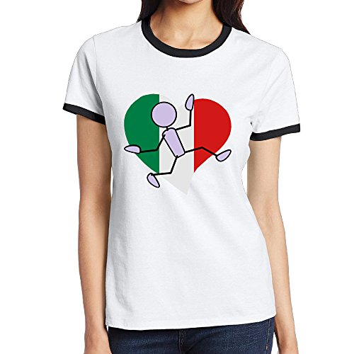 Shanxianp Italy Flag In Heart Shape Women's Color Short-sleeved Round Collar - Face Men Quiz Shape
