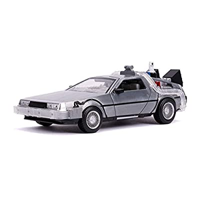 Jada Toys Back to The Future Part II (1989) Movie Delorean Brushed Metal Time Machine with Lights (Flying Version 1/24 Diecast Model Car: Toys & Games