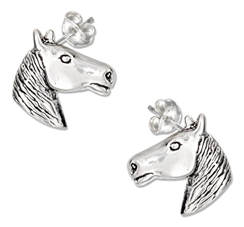 Horse Head Earrings (Sterling Silver Mini Horse Head Earrings on Stainless Steel Posts and Nuts)
