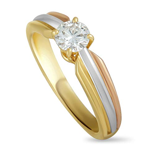 (CARTIER 18K Yellow White and Rose Gold Diamond Solitaire Engagement)