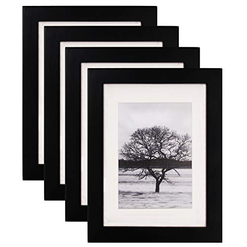 Egofine 5x7 Picture Frames 4 PCS - Made of Solid Wood High Definition Glass for Table Top Display and Wall mounting Photo Frame Black