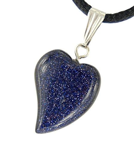 - Big Heart Collection - 20mm Wavy Galaxy Goldstone Black Blue Sparkles - 20