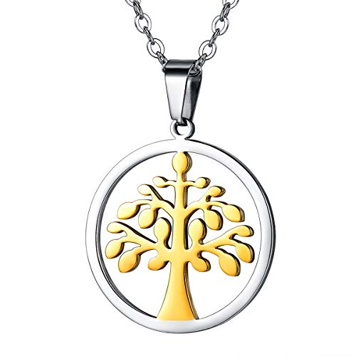 FOCALOOK Tree of Life Round Pendant 18k Gold Plated Stainless Steel Chain Two Tone Necklace for Women