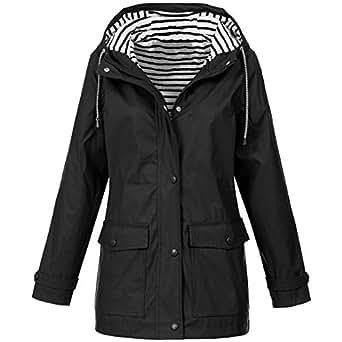 BOZEVON Women's Lightweight Hooded Raincoat Outdoor, Black/US XXS = Tag S