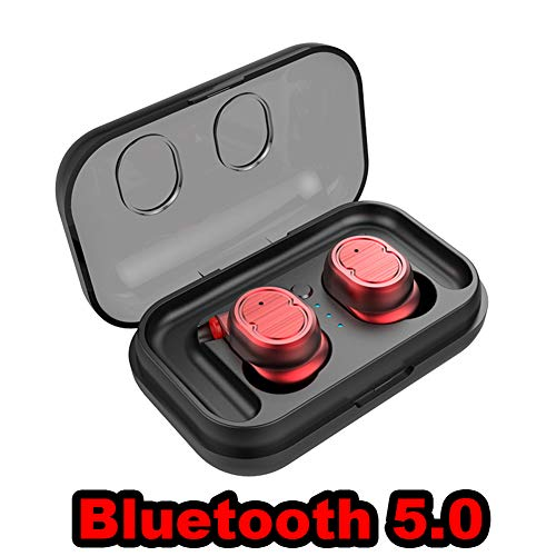 Red Hifi Helmet - LZWNB Wireless Earbuds, in-Ear TWS Bluetooth Headset IPX5 Waterproof Sport Earphones Bluetooth 5.0 Stereo Hi-Fi Sound with Portable Charging Case Fit Running Driving Gym,Red