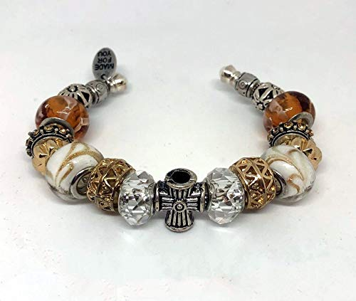 Pandora Style, Silver Cross, Religious Cuff Charm Bracelet, Festival Gift, Cat Lovers Gift,Gold, White Silver Amber Cuff Bracelet,Themed Bracelet, Religious Costume Jewelry for Women or Girls,