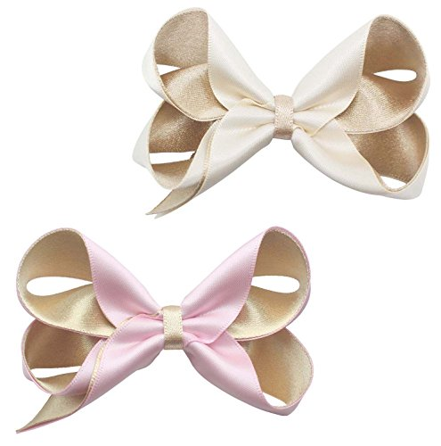 2Pcs Hair Bows Handmade Satin Ribbon Double Loop, Pink and Cream (Double Loop Ribbon)