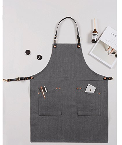 Luchuan Cotton Grey Denim Restaurant Work Aprons with the Adjustable Genuine Leather Belt (style 1 : 30''x23.6'') by Luchuan