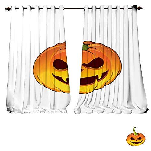 DESPKON-HOME Room Darkening Wide Curtains Cartoon Pumpkin for The Holiday Happy Halloween Vector illustration4 Thermal Insulated Room Darkening Window-W96 x L108/Pair ()