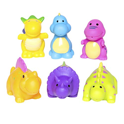 Elegant Baby Bath Time Fun Rubber Water Squirties, Dinosaur Party Squirt Toys