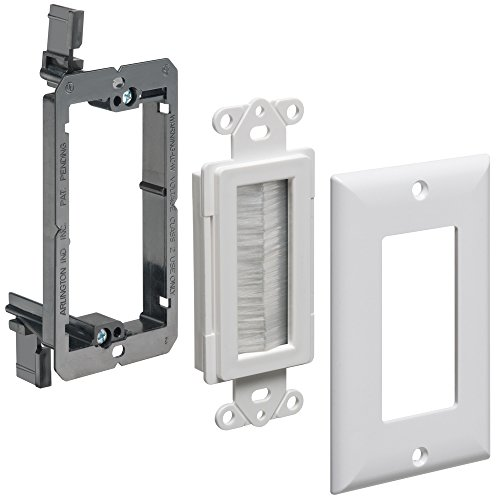 Arlington Industries LVCED135WP-1 Cable Entry Device with Brush-Style Opening, Low-Voltage Bracket and Wall Plate, 1-Gang, White, (Opening Device)