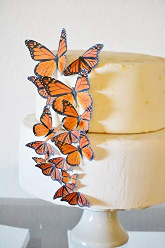 Edible Butterflies - Assorted Orange Monarch Set of 15 - Cake and Cupcake Toppers, Decoration -