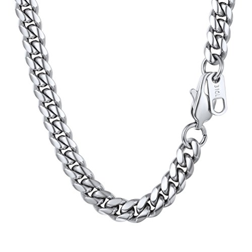 PROSTEEL Stainless Steel Cuban Link Chain,Curb Chain Necklace,Chain Choker,18inches,Gift for Him,Men Jewelry