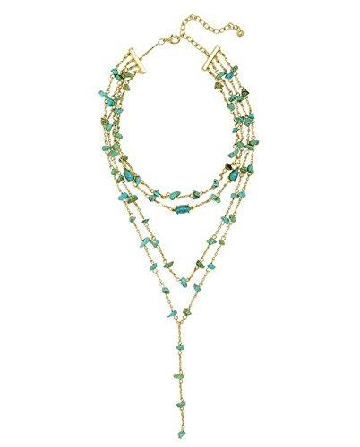 SeaPink Women's Bohemian Boho Tassel Necklace,Turquoise Pendant Long Necklace (Blue Multi layered)