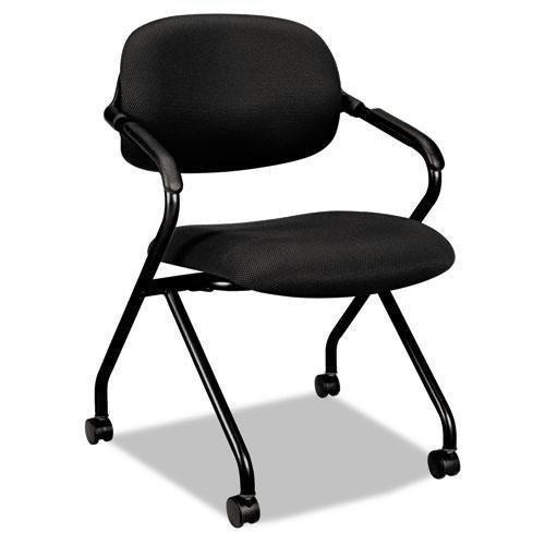 HON basyx Vl303 Mesh Back Nesting Arm Chair, Black/Black