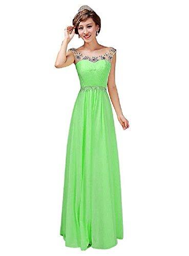 Grün V Hellgrün Ausschnitt lang Chiffon Beauty Abendkleider Emily mit Spaghetti trägerlos wFzFI1q