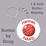 Personalized Basketball Key Ring/Bag Tag 1.5 inch charms