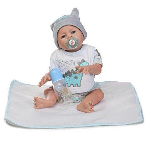 Reborn Dolls NKol Lifelike Newborn Realistic Baby Doll (Silicone Vinyl Full Body, Waterproof), 20inch 50cm Weighted Baby Girl or Boy Anatomically Correct Toys (Gray Boy Doll)