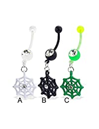 MsPiercing Bioplast Belly Button Ring With Dangling Web