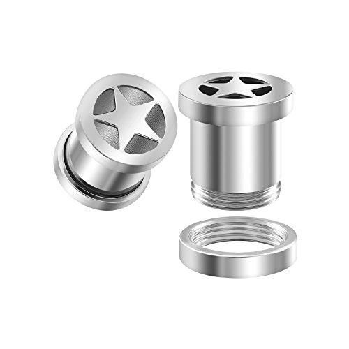 (BIG GAUGES Pair 316L Surgical Steel 0g Gauge 8mm Screw-Fit Flesh Tunnel Star Piercing Jewelry Ear Stretching Lobe Plug Earring BG1033)
