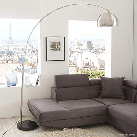 inspire- Big Sofa - Lámpara de pie Arc acero y pie mármol ...