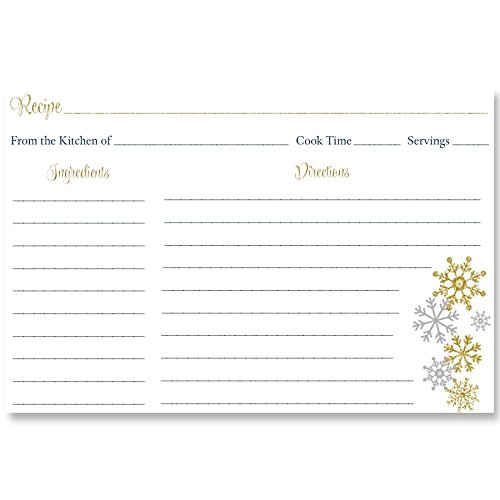Recipe Cards, Winter, Snowflakes, Glitter, Gold, Navy, Blue, Bridal Shower, Wedding, Housewarming, Cookie Exchange, Silver, Snow, Christmas, Double Sided with Lines, 4 x 6, 24 Printed Cards, Snowfall