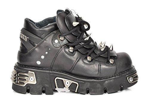 New Rock Metallische Plattform Gothic Stil Knöchel Stiefel Schwarz Schnürsenkel Leder Stachelige Schuhe