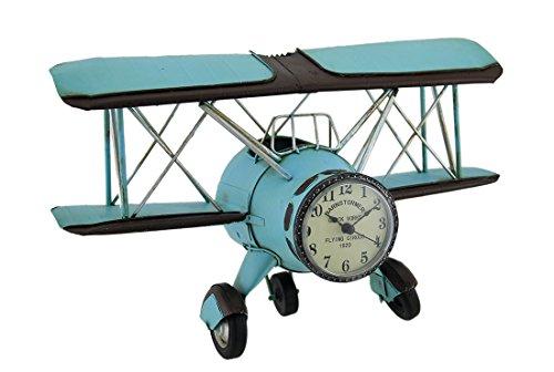 Barnstormer Plane - Zeckos Blue Barnstormer Retro Biplane Wall Clock Sculpture 12 Inch