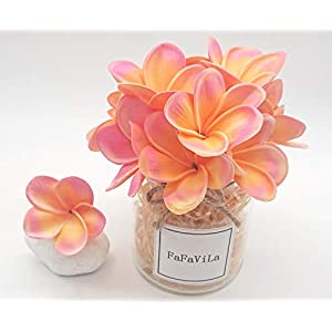 FaFaVila Bunch of 12 PU Real Touch Lifelike Artificial Plumeria Frangipani Flower Bouquets Wedding Home Party Decoration (Plumeria-12 pcs, Pink&Orange)