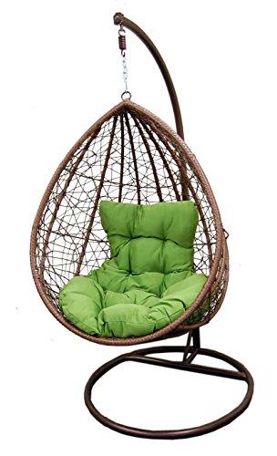 Hanging tear drop Resin Wicker swing Chair & Stand & Cush...