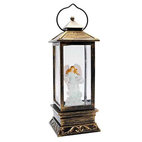 Musical Christmas Candle - Eldnacele Battery Operated Lighted Christmas Water Glittering Snowing Globe Christians Church Lantern for Home Decoration Angel