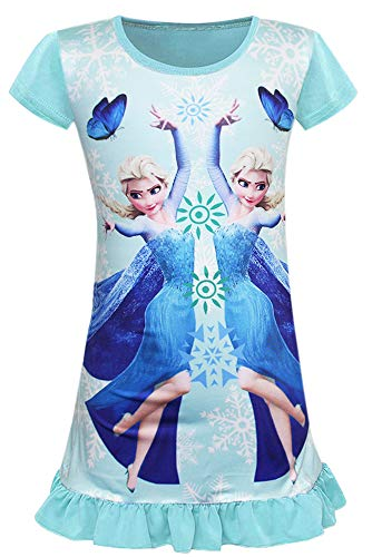 WNQY Little Girls Princess Elsa Pajamas Toddler Nightgown Dress (Ligt Blue,110/3-4Y)