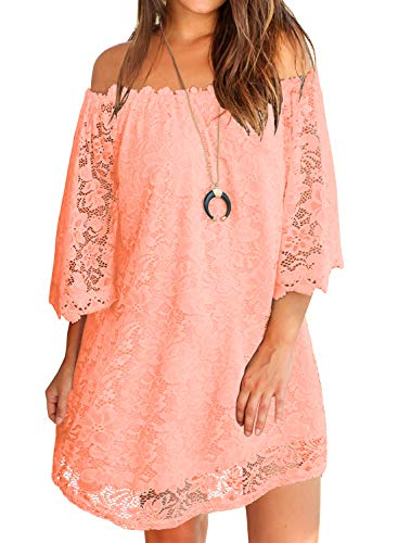MIHOLL Women Summer Short Sleeve Lace Loose Mini Dress Plus Size (XX-Large, Pink) -