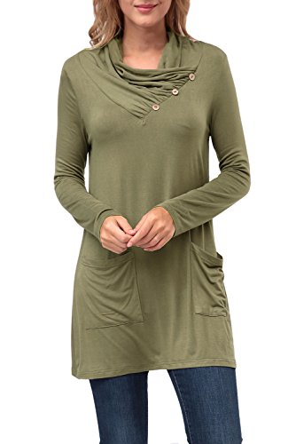 Zattcas Womens Button Sleeve Pockets