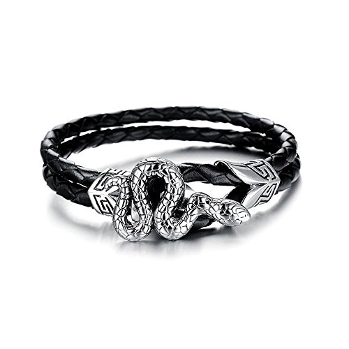 Heart of Charms Stainless Steel Skull Crown Snake Black Leather Braided Handmade Bracelets Wristband (snake)