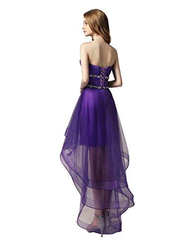 Clearbridal Asymmetrisch Violett Ballkleid CAJ014 Damen Partykleid Herzausschnitt Tüll Abendkleid rwqrHSE