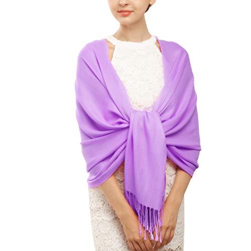 Women's Pashmina Blanket Scarf Shawl Wrap Cashmere Feel Scarves Bridal Christmas Gift (One Size, Z-Medium Purple)