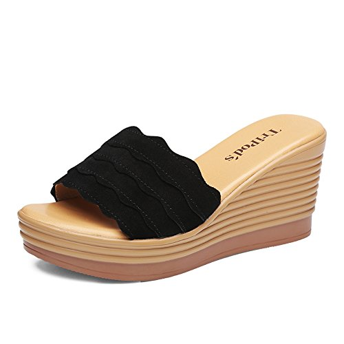 Sandals ZHIRONG Summer Women's Fashion Open Toe Frosted Roman Thick Bottom Shoe Slope Slippers 8CM (Color : Black, Size : EU39/UK6/CN39) Black
