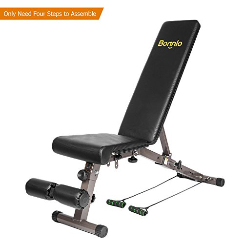 Bonnlo Upgraded Adjustable Bench Weight Bench Press for Body Workout Fitness, 660 LBS Capacity Workout Bench For Incline Decline Flat Exercise Training Black