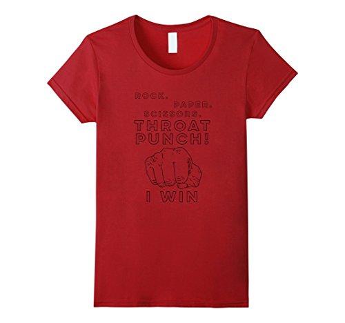 Cranberry Punch (Womens Rock Paper Scissors Throat Punch I Win Fist Tee Shirt XL Cranberry)