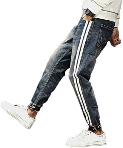 [CAIXINGYI]9分 ジーンズ 男性 秋 冬 穴 ルーズ 9ズボン レジャー ストレート ワイルド ファッション ストリートダンス カウボーイ パンツ