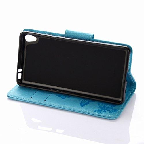 Custodia Sony Xperia E5 Cover Case, Ougger Fiore Farfalla Portafoglio PU Pelle Magnetico Stand Morbido Silicone Flip Bumper Protettivo Gomma Shell Borsa Custodie con Slot per Schede (Azzurro)