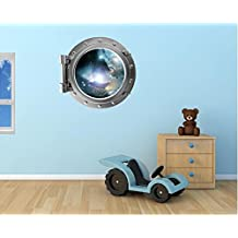 """24"""" Port Scape Instant Space ship Window View NEBULA & STARS #1 SILVER Porthole Wall Decal Sticker Graphic Mural Home Kids Game Room Art Decor NEW"""