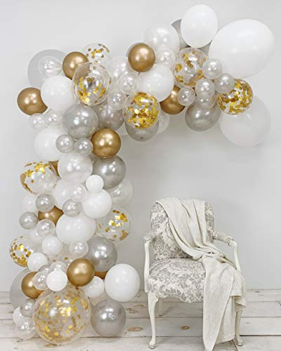 JUNIBEL Balloon Arch & Garland Kit | 90 Pearl White, Chrome Gold Confetti & Silver | Glue Dots | Decorating Strip | Holiday, Wedding, Baby Shower, Graduation, Anniversary Organic DIY Party Decorations