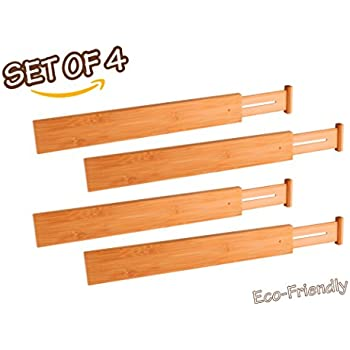 bamboo expandable adjustable drawer dividers organizers by adorn tension spring. Black Bedroom Furniture Sets. Home Design Ideas